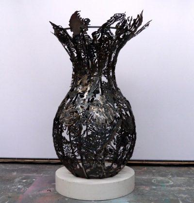 Julian Carter Design 8' high steel vase. Private collection