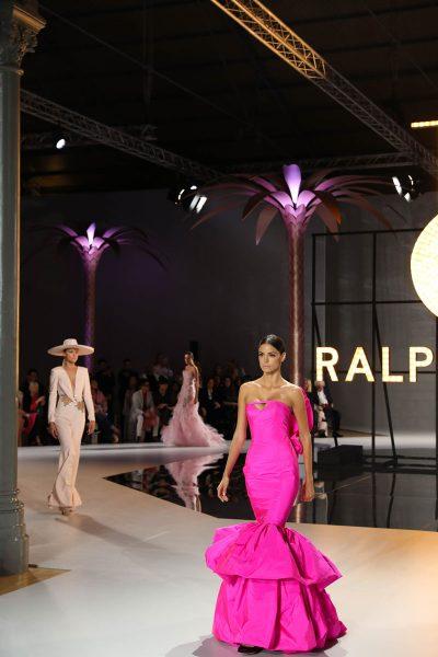Julian Carter Design 5 metre high palm trees for Ralph & Russo at Paris Fashion Week 2019
