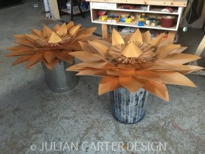 Julian Carter Design. 5' diameter aluminium sun flower assembled and ready.