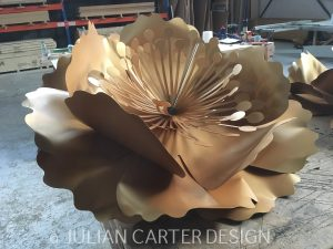 Julian Carter Design. 5' diameter aluminium flower. Design by Zoe Bradley.
