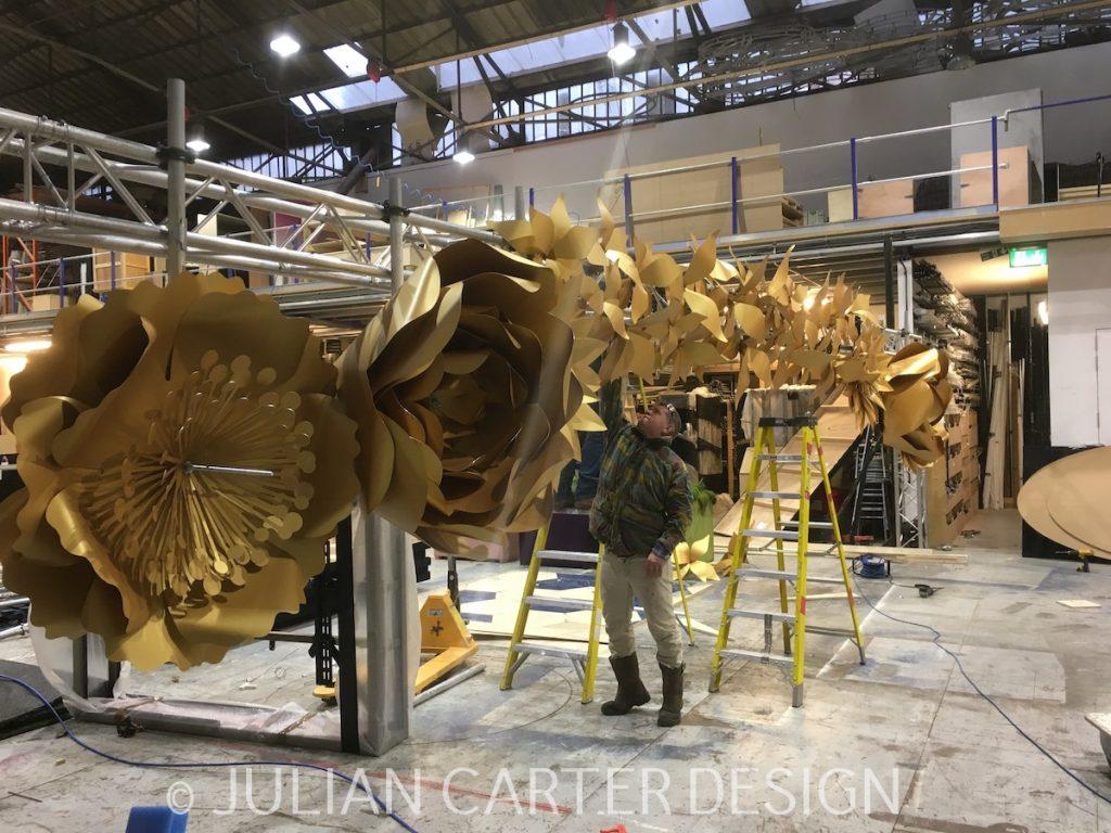 Julian Carter Design.Pandora flowers being pre-assembled at Firecracker Works' vast workshop complex.