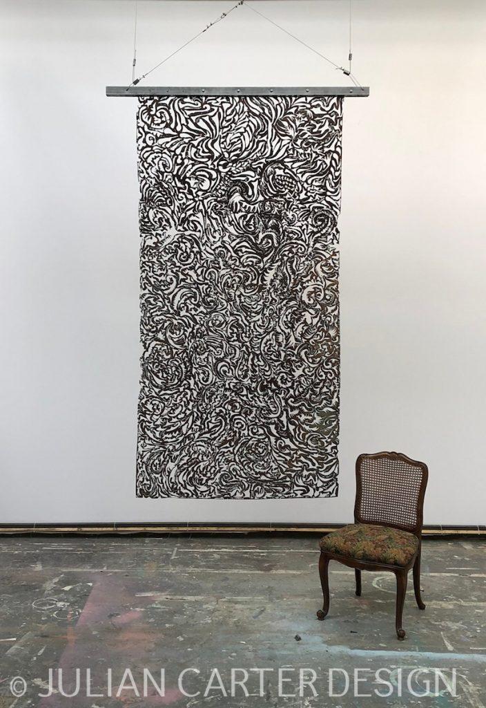 Julian Carter Design. Suspended steel textile screen - Matt side