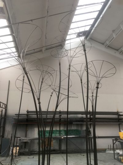 Julian Carter Design Steel armatures built for Amanda Austin Flowers at Masterpiece London 2018