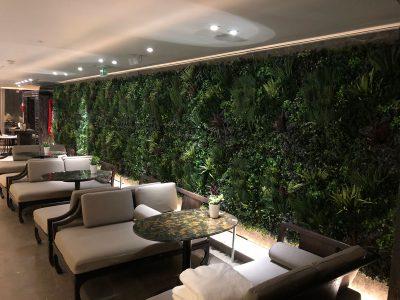Julian Carter Design 9 metre flower wall structure built for McQueens Florists at Shangrila, The Shard
