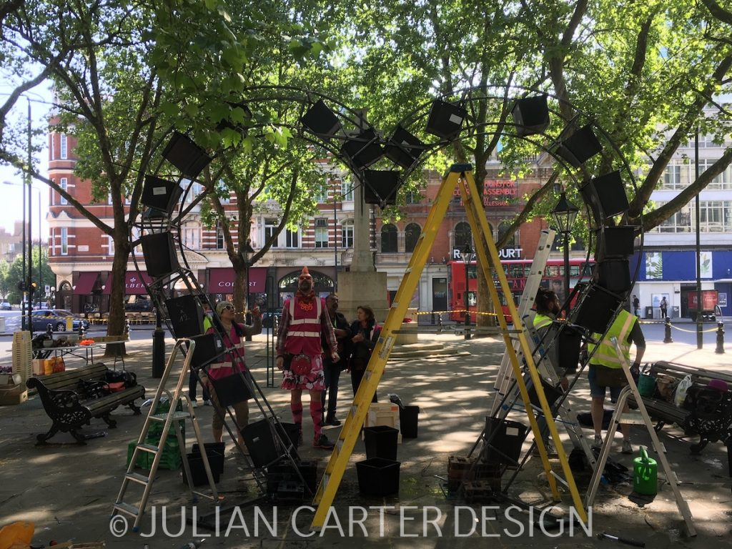 Julian Carter Design. All For Love London starting work on their floral design. Chelsea In Bloom 2018