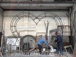 Julian Carter Design. Building the Heart Arch for All For Love London. Chelsea in Bloom.