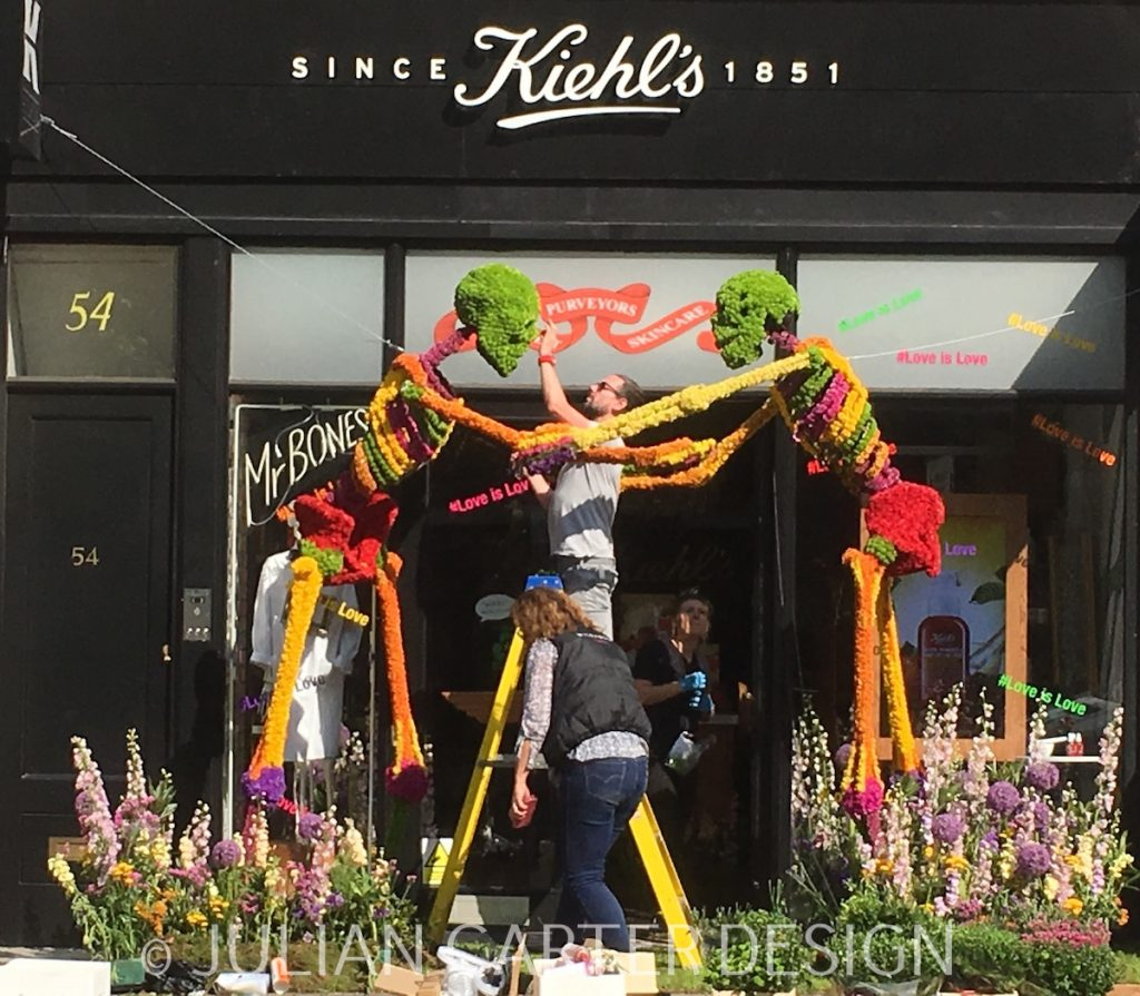Julian Carter Design. Finishing touches to Wildabout Flower's Floral Design for Kiehl's.