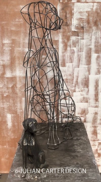 JULIAN CARTER DESIGN 2M HIGH DOG ARMATURE LIVING SCULPTURE
