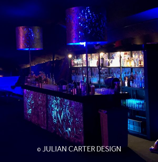 JULIAN CARTER DESIGN STEEL, ALUMINIUM AND PERSPEX BAR AND LAMPS. DESIGNED AND BUILT FOR DAVID CURTIS EVENTS